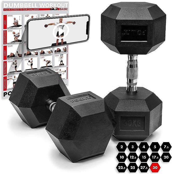 Manubri pesi esagonali gommati 2-30 kg + pdf workout (nero) powrx B016BJ2T0M