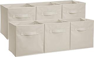 AmazonBasics Foldable Storage Bins Cubes Organizer, 6-Pack, Beige