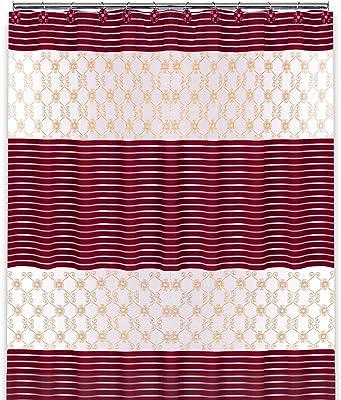 Popular Bath Shower Curtain 70 x 72 Burgundy//Gold 70 x 72 870190 Vlegant Rosa Collection