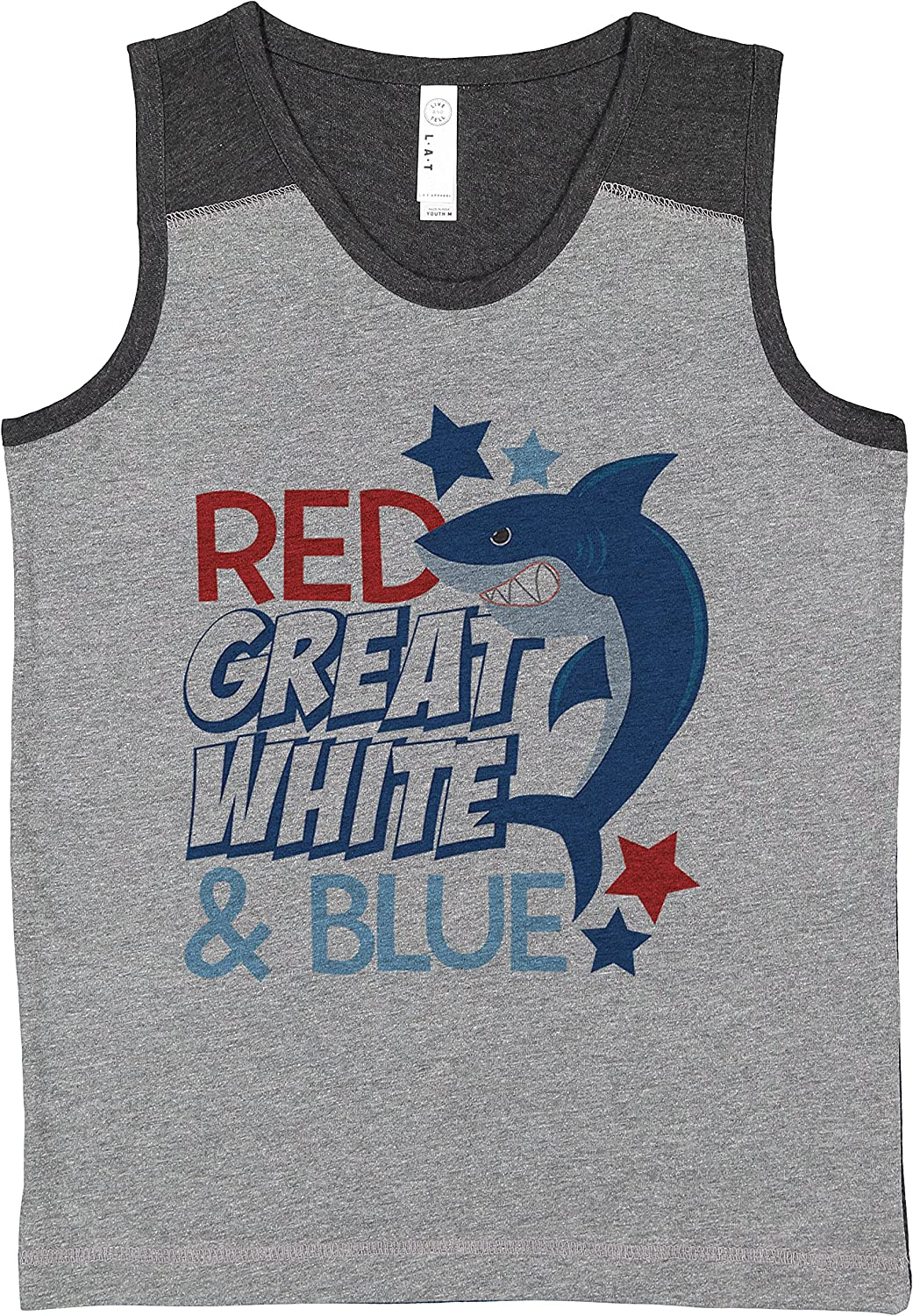7 ate 9 Apparel Kids 4th of July Red Great White Shark Grey Contrast Tank Top