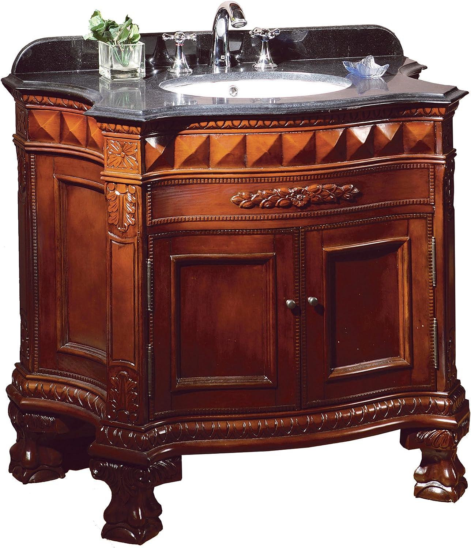 Ove Decors Buckingham 36 Bathroom 36 Inch Vanity Ensemble With Black Granite Countertop And Ceramic Basin Dark Cherry Bathroom Vanity Cabinet And Sink Amazon Com