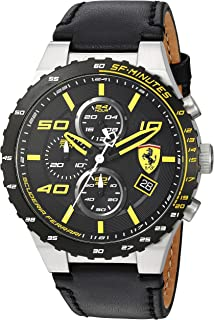 Scuderia Ferrari Men's Stainless Steel Quartz Watch with Leather Calfskin Strap, Black, 0.63 (Model: 830360