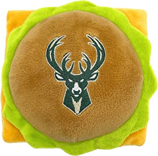 NBA Milwaukee Bucks Cheese Burger Plush Dog & CAT Squeak Toy - Cutest Stadium HAMBERGER Snack Plush Toy for Dogs & Cats wi...