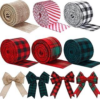 By the Yard Crafting Gifting 12 Plaid Ribbon May Arts Ribbon 12 GreenFuchsiaOrange Checkered Ribbon with Woven Stitched Edge