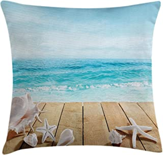 Ocean Throw Pillow Cushion Cover by Ambesonne, Wooden Boardwald Seashells Resort Sunshine Maldives Deck Waves Beach Theme, Decorative Square Accent Pillow Case, 18 X18 Inches, Sky Blue and Beige