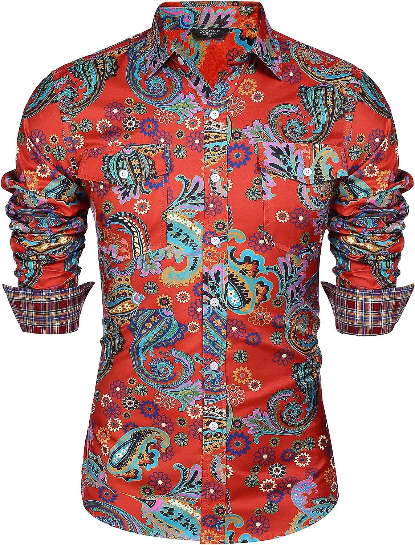 COOFANDY Men's Floral Dress Popular popular Shirt Printe Casual Fit Slim cheap Paisley
