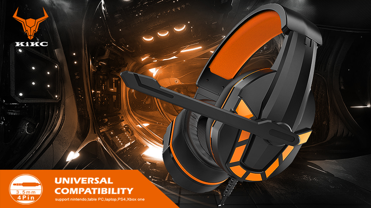 Kikc PS4 Gaming Headset with Mic for Xbox One, PS5, PC, Mobile Phone and Notebook, Gaming Headphones with Controllable Volume Box and Soft Earmuffs, Xbox One Headset with 120-Degree Potating Mic