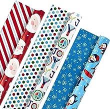 Hallmark Christmas Reversible Wrapping Paper, Kids (Pack of 3, 120 sq. ft. ttl) Santa, Joy, Penguins, Snowflakes, Polka Do...