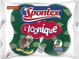 SPONTEX - Eponge Iconique - 2 éponges grattantes - Efficace et facile à rincer - Motifs hérisson