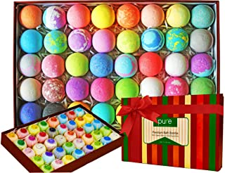 Natural Bath Bombs Gift Set - Bath Bombs for Kids & Adults Infused with Essential Oils! Individually Wrapped Lush Bath Bomb Gift Set for Women & Kids! (40 Pure Bath Bombs)
