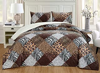 GrandLinen 3 Piece Queen Size Brown Black White Animal Print Safari Comforter Set. Leopard, Zebra, Cheetah Winter Micro Fur Bedding with Sherpa Backing