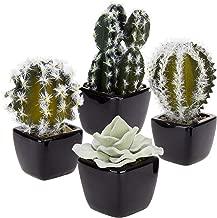 MyGift Mini Assorted Faux Cactus Plants in Square Black Ceramic Pots, Set of 4