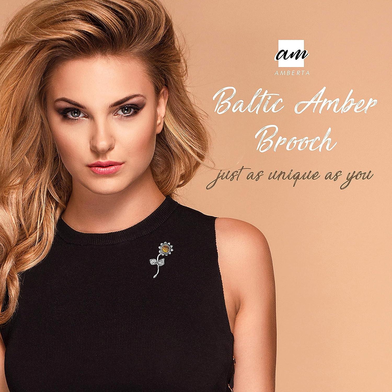 Amberta Broche en argent sterling 925 avec ambre de la Baltique