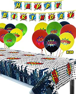 Superhero Party Supplies Kit with Superhero Tablecloth, Superhero Birthday Banner and 20 Superhero Balloons - Complete Superhero Decorations Kit