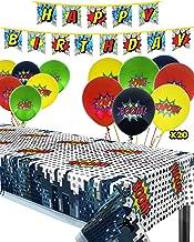 Superhero Party Supplies Kit with Superhero Tablecloth, Superhero Birthday Banner and 20 Superhero Balloons - Complete Superhero Decorations Kit