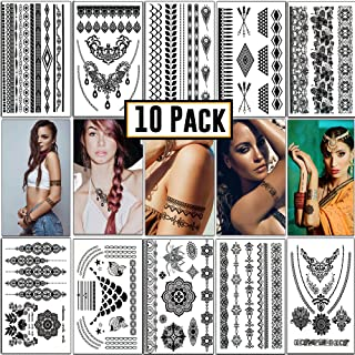 Temporary Tattoos - Fake Semi Permanent, Henna Tattoo | 10 sheets & 100+ designs | Metallic Glitter Festival Accessories Stickers | Fits Men, Women, Adults, Kids | For Face, Body, Costumes