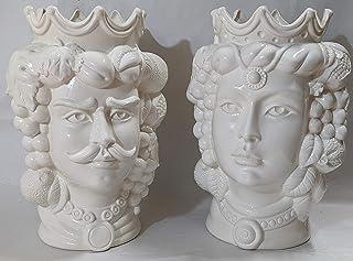 """Testa di moro in ceramica siciliana BIANCHE H. 35 cm COPPIA ottimo dettaglio e rilievo""""CON DEDICA A VOSTRA SCELTA"""""""