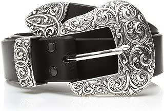 Women's Beveled Edge Silver Buckle Set Belt