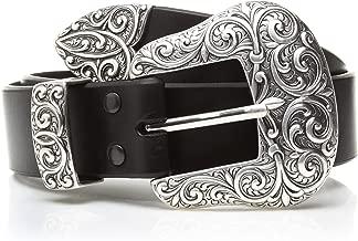 ARIAT Women's Beveled Edge Silver Buckle Set Belt