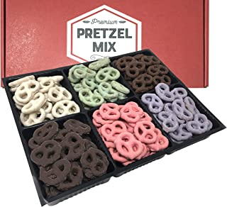 Chocolate and Yogurt Covered Pretzels Gift Box by Coco's Gift Baskets. 6 Assorted Flavors. Milk, Dark Chocolate, Blueberry, Key Lime, Strawberry, Yogurt. Perfect Gift for Christmas, Friends, Family.