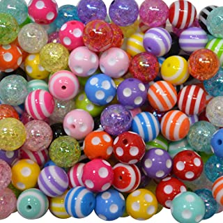 20mm Bulk Mix of Polka Dot, Stripe and Crackle Chunky Bubblegum Beads. 120 pc. Acrylic Gumball Beads