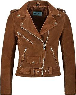Carrie CH Hoxton Señoras Fringe Brando Suede Leather Jacket Biker Motocicleta Estilo Real MBF