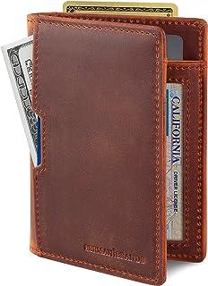 SERMAN BRANDS - Wallets for Men Slim Mens leather RFID Blocking Minimalist Card Front Pocket Bifold Travel Thin (Canyon Re...