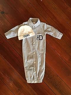 Baby Boy Seersucker Monogram Gown and Hat Baby Boy Coming Home Outfit Infant Monogram Gown and Hat