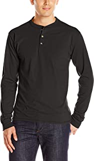 Men's Long-Sleeve Beefy Henley T-Shirt - Large - Ebony