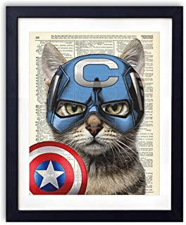 Captain Cat America Super Hero Vintage Upcycled Dictionary Art Print – 8×10 inches