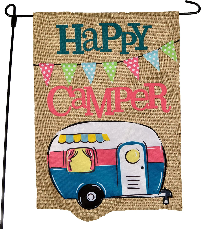 Camping Camper Garden Flag Happy Max 44% OFF Minneapolis Mall - Design Gar Blue Summer