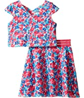 Us Angels - Laser Cut Scuba Two-Piece Cap Sleeve Cross Back w/ Flare Skirt (Big Kids)