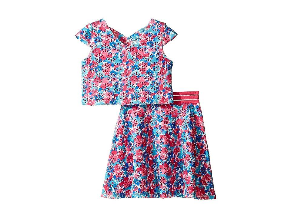 Us Angels Laser Cut Scuba Two-Piece Cap Sleeve Cross Back w/ Flare Skirt (Big Kids) (Multi) Girl