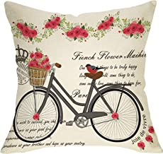 Softxpp Summer Farmhouse Throw Pillow Cover Vintage Bicycle Bike Rose Flower Decoration Lover Sign Home Decor Cushion Case Decorative for Sofa Couch 18 x 18 Inch Cotton Linen