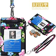 ELV Badge Holder with Zipper, PU Leather ID Badge Card Holder Wallet with 5 Card Slots, 1 Side RFID Blocking Pocket and 20 inch Neck Lanyard Strap for Offices ID, School ID, Driver Licence (Floral)
