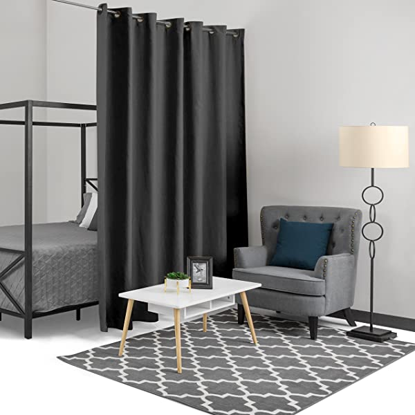 Best Choice Products 15x8ft Heavyweight Multi Purpose Privacy Blackout Room Divider Curtain W Grommet Rings Black