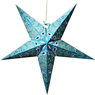 Turquoise Charm Paper Star Lantern with 12 Foot Power Cord Included