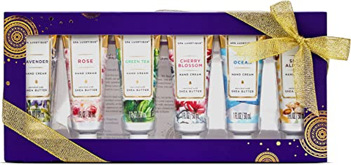 Spa Luxetique Crème pour Mains Sèches, 6PC Crème de Mains, Coffret Cadeau pour Femmes, Parfum de Rose, Hydratant pour...