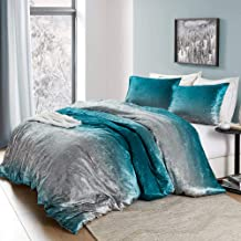 Byourbed Coma Inducer Queen Duvet Cover - Ombre Velvet Crush - Ocean Depths Teal/Silver Gray
