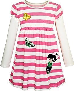Sunny Fashion Girls Dress Christmas Santa Reindeer 2-in-1 Top Dress Size 2-8 Years