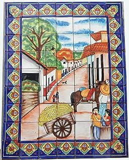 COLOR Y TRADICIÓN Mexican Talavera Mosaic Mural Tile Handmade Backsplash Rustic Path & Horse Wagon # 48