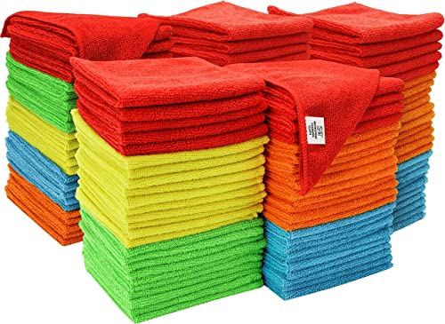 S&T INC. Microfiber Cleaning Cloths, Reusable and Lint Free Cloth Towels for Home, Kitchen and Auto, Assorted Color, ...