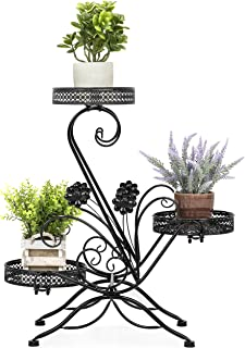 Best Choice Products 3-Tier Decorative Metal Freestanding Plant and Flower Pot Stand Rack Display for Patio, Garden, Balcony, Porch w/Scrollwork Design, Black