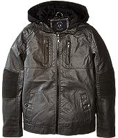 Urban Republic Kids - Faux Leather Jacket w/ Hoodie (Big Kids)