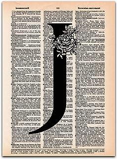 J - Monogram Wall Decor, Letter Wall Art, Dictionary Page Art Print, UNFRAMED