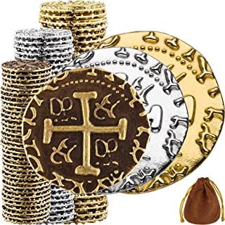 Sponsored Ad - Pirate Coins - 102 Bronze, Silver & Gold Treasure Coin Set, Metal Replica Spanish Doubloons for Board Games...