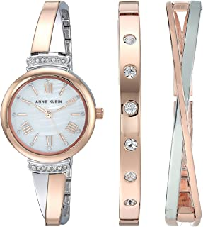 Women's AK/2245RTST Swarovski Crystal Accented Rose Gold-Tone and Silver-Tone Bangle Watch and Bracelet Set