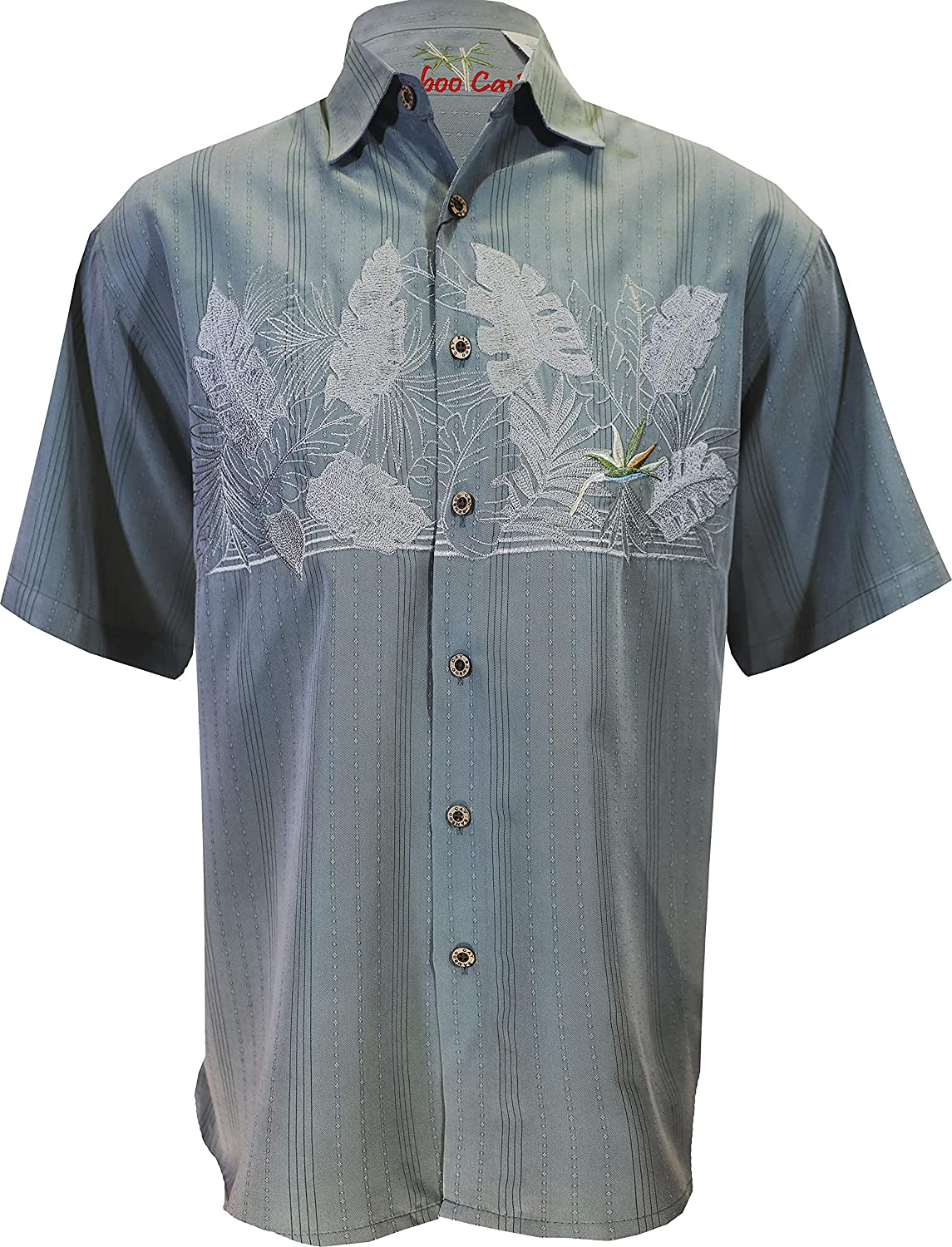 Bamboo Cay Men's Chest Bird of Paradise Tropical Style Embroidered Hawaiian Button Down Shirt