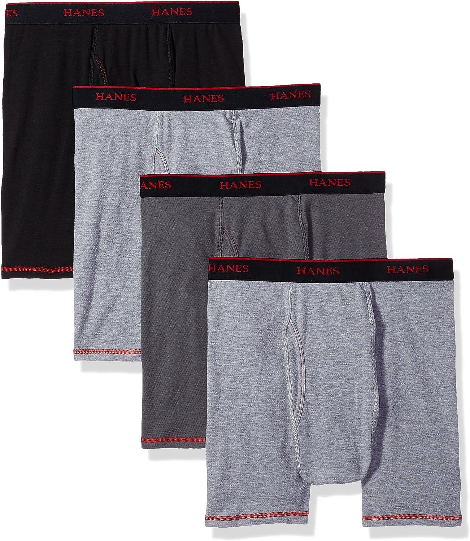 Hanes Men's 4-Pack Cool Comfort Breathable Mesh Boxer Brief Grey