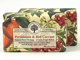 Wavertree & London Natural Plant Oil French Triple Milled Moisturizing Soap with Pure Shea Butter 7 oz each Persimmon & Red Currant (2-Pack)